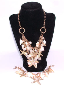 Custom Handmade Shell and Starfish Necklace and Bracelet