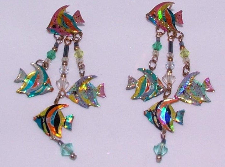 Custom Handmade Tropical Fish Ear Rings