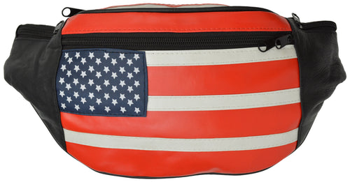 Genuine Leather USA Flag Fanny Pack with Adjustable Belt
