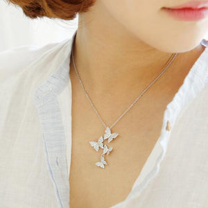 Women's Real 925 sterling silver long zircon butterfly necklaces pendant