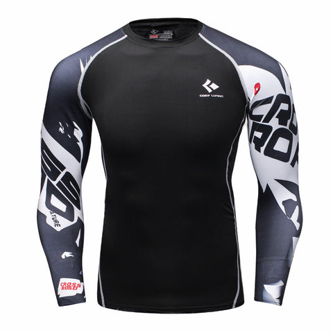 Men's Compression Shirt Bodybuilding Skin Tight Long Sleeves Jerseys Workout sports