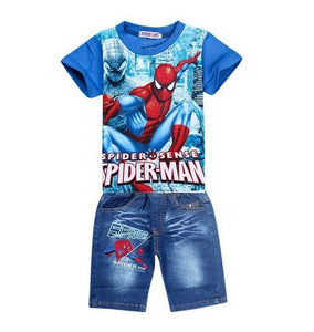 Spiderman clothing sets, cartoon children shirt jeans shorts, toddler boys
