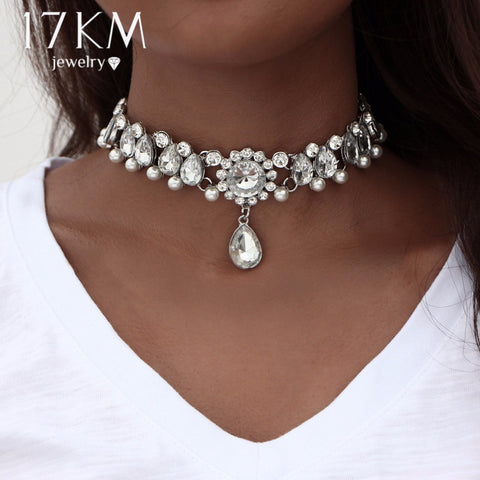 Women's Collar Choker Water Drop Crystal Beads Necklace Simulated Pearl