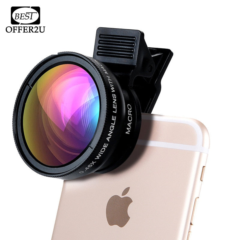i Phone HD Camera Lenses 0.45X Wide Angle 12.5X Macro Clips 2in1 Kit  4 4s 5 5s 5c SE 6 6s 7