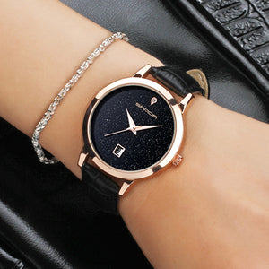 Star Dial Women Watches Golden Leather Dress Clock Calendar
