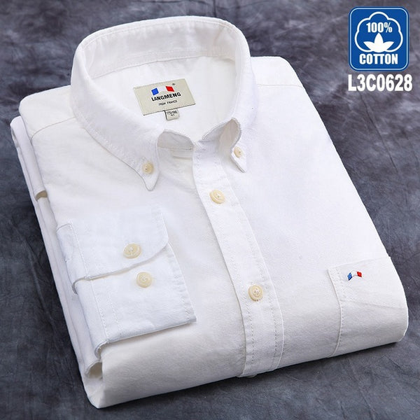 100% cotton solid striped shirt men oxford dress shirt white black
