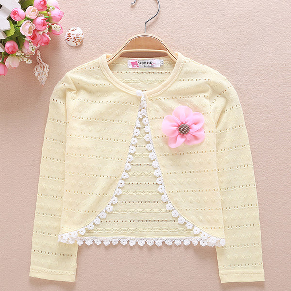 Girls Jacket Short Outerwear White Lace Cardigan Shawl