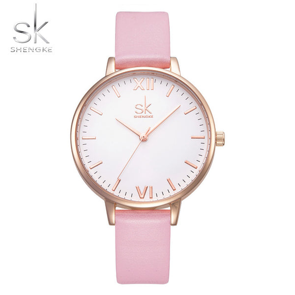 Shengke  Fashion Ladies Watches Leather Female Quartz