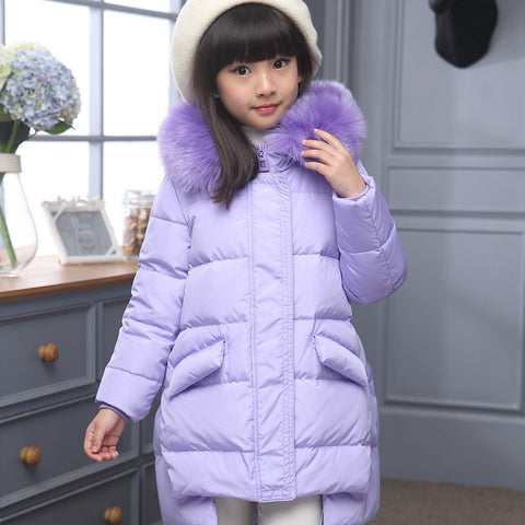 Girl Thick Down Coat For Cold to minus 30 degree
