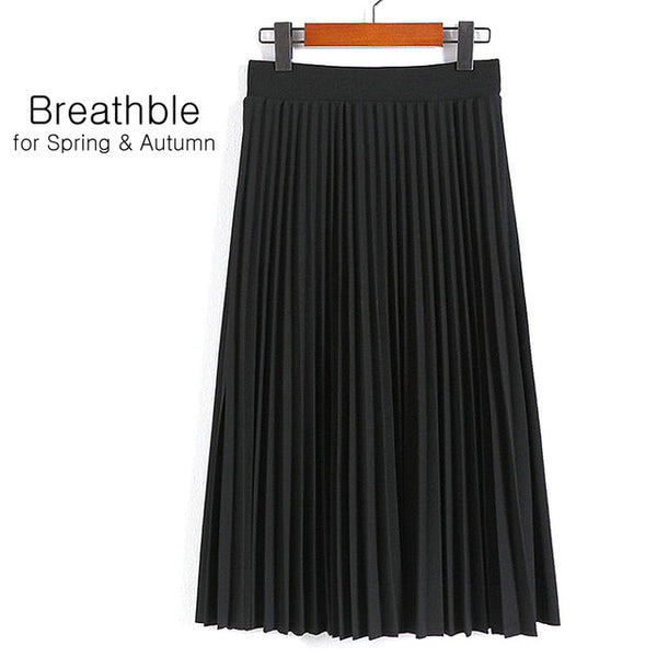 Women's High Elastic Waist Pleated Solid Color Length Skirt
