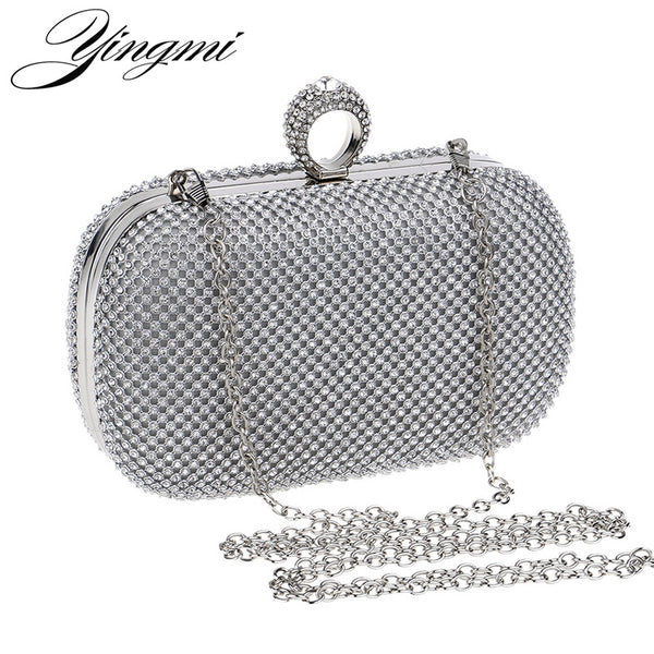 Women Rhinestones Evening Bags Silver/Gold/Black Chain Shoulder