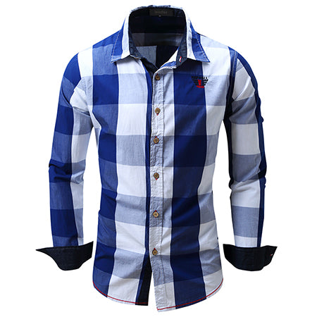 European size big plaid shirt men's long-sleeved 100% cotton
