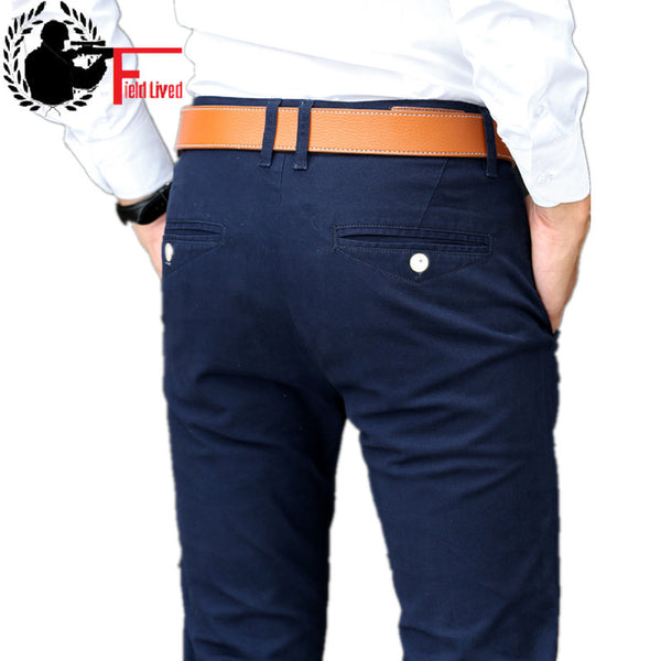 Men's Elastic Pants Business Dress Slim Fit Stretch Long Trousers