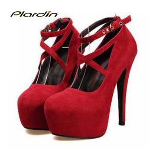 Woman Pumps Cross-tied Ankle Strap Shoes Platform Women  High Heels Suede