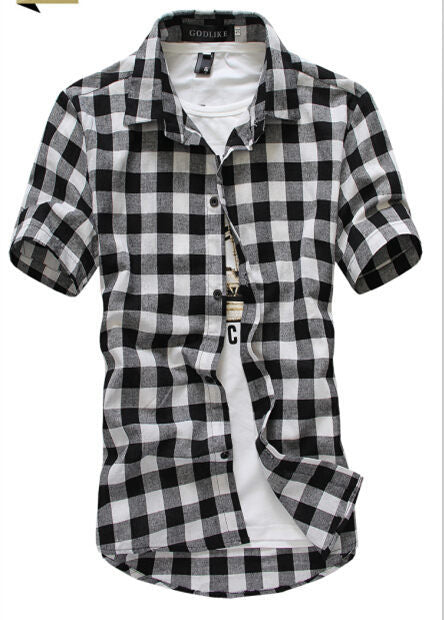 Red And Black Plaid Shirt Men Shirts  Dress Shirts Short Sleeve