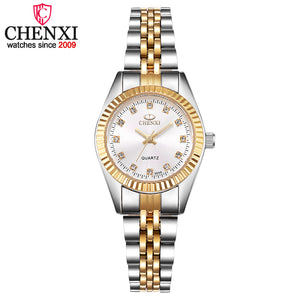 Golden & Silver Quartz Watch Ladies Waterproof Wristwatch