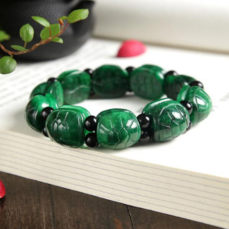 Genuine jade tortoise shell hand string dried green gold turtle trendy bracelet