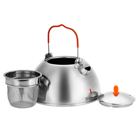 0.6/1.1L Outdoor Camping Teapot Coffee Pot Stainless steel Hiking Picnic with Tea Filter
