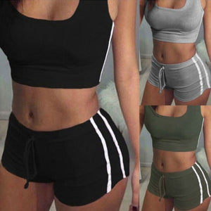 Ladies 2-piece Belt Padded Bra Sleeveless Tops+Belt Shorts Fitness Running Yoga Gym Female Sports
