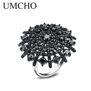 Gemstone Black Spinel Ring Solid 925 Sterling Silver Female Cluster