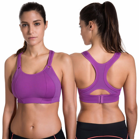 Women's Front Adjustable Lightly Padded Racerback High Impact Sports Bra