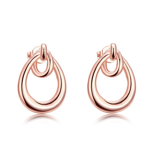 18 K Rose Gold Double Hoop Studded Earrings