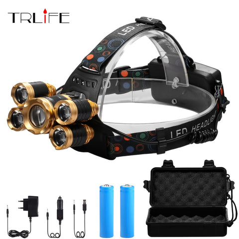 XML 5*T6 Headlight 40000 Lumens 4mode Zoomable Headlamp USB Rechargeable Head Lamp +2*18650 Battery+AC/DC Charger