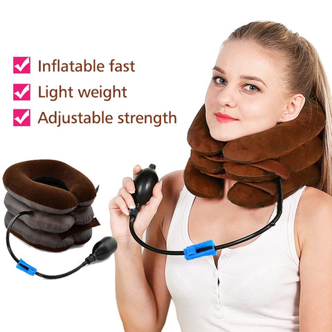 Manually Inflatable Cervical Traction Device Three-tier Neck Stretching Spondylosis