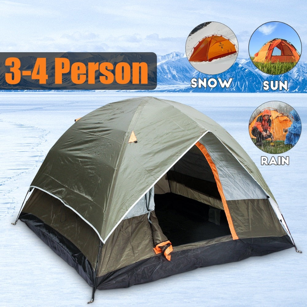 3-4 Person Windbreak, waterproof, Anti- UV Camping Tent Dual Layer Waterproof, Outdoor Hiking Beach