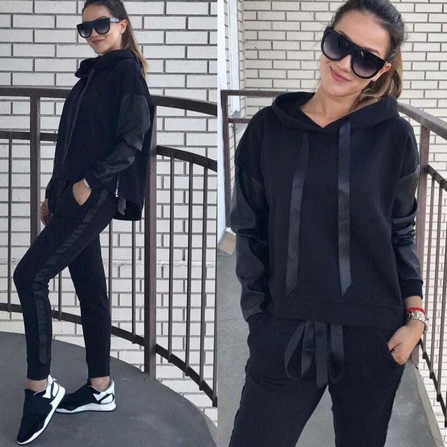Cotton Woman Tracksuit 2 Pieces Jogging Sets Autumn-Winter Hoodies