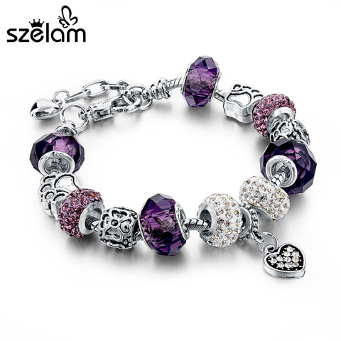 Szelam Fashion Crystal & Glass Beads Charm Bracelets For Women