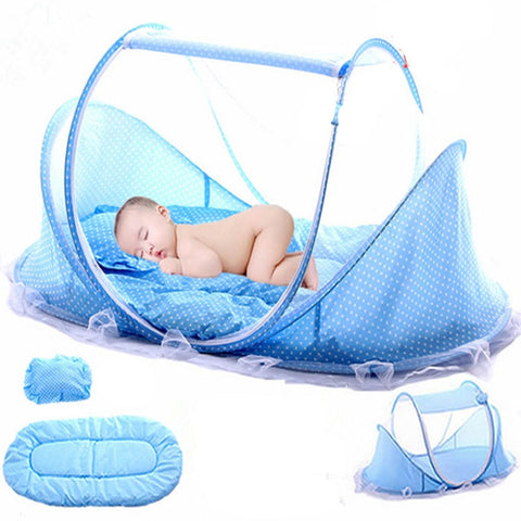 Folding Baby Mosquito Nets Bed Mattress Pillow Three-piece Suit For 0-3 Years Old Children