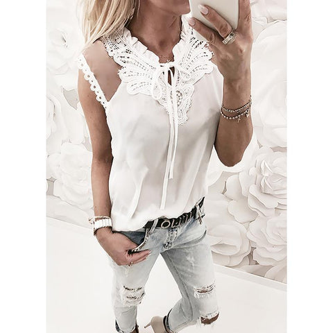 Ladies Shirt-Blouses Mesh, Lace, Patchwork, tops V Neck Summer