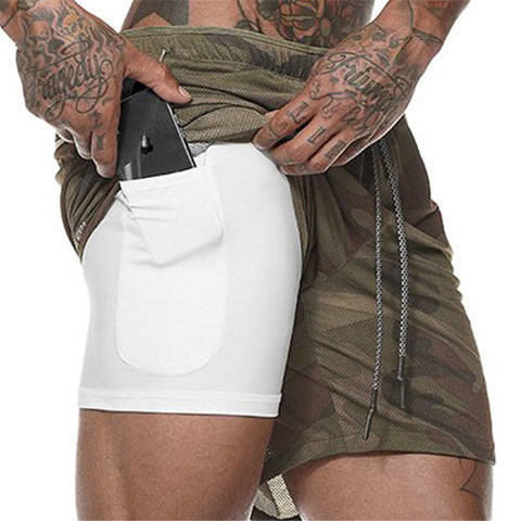 Men's 2 in 1 Security Shorts Quick Drying Cool for Gym with Built-in Pockets Hidden Zipper