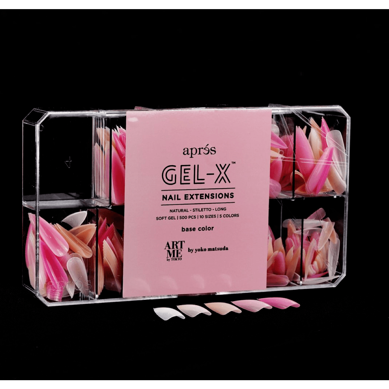 ArtMe x Aprés Gel-X Tips - Base Color - Natural Stiletto Long-Gel System-Universal Nail Supplies