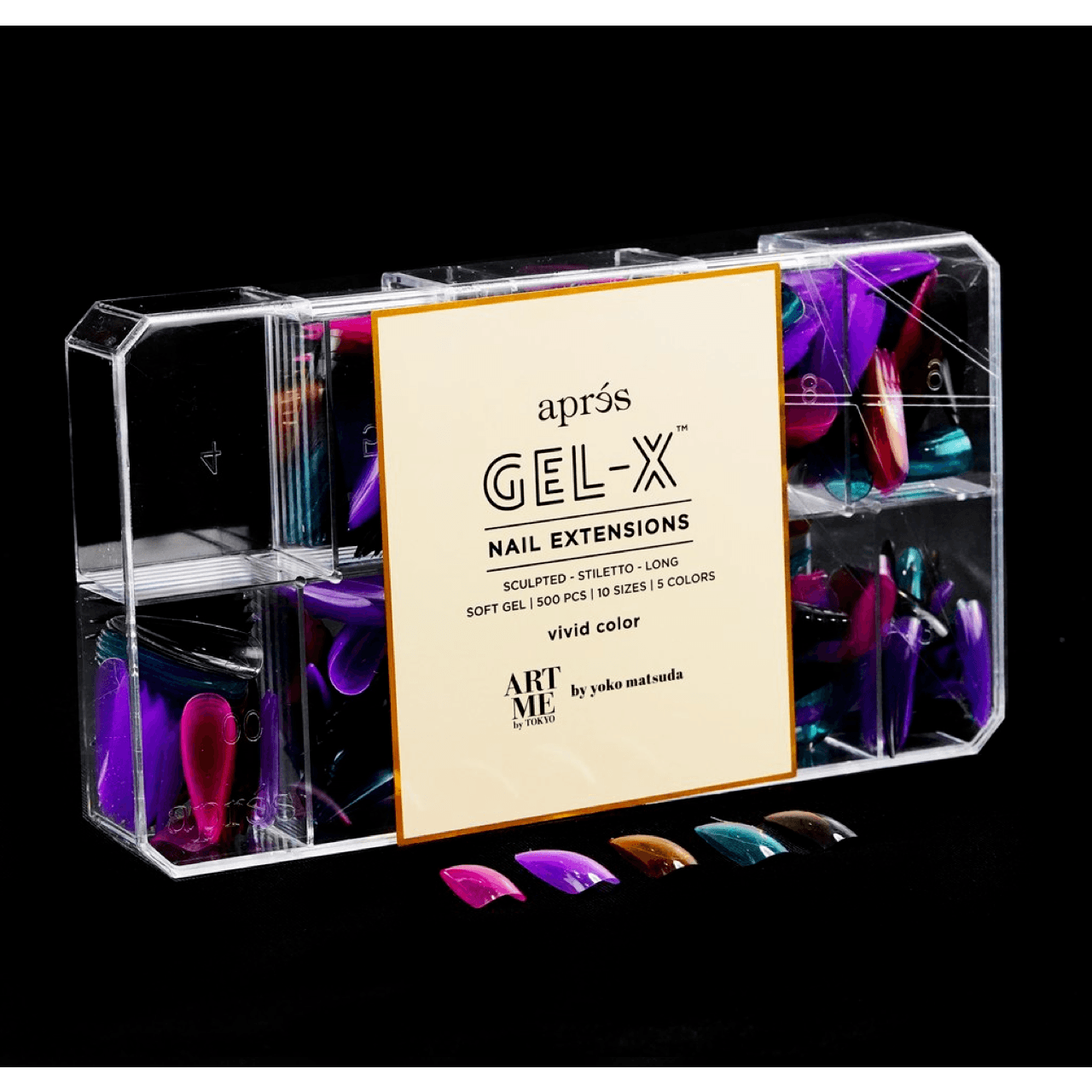 ArtMe x Aprés Gel-X Tips - Vivid Color - Sculpted Stiletto Long-Gel System-Universal Nail Supplies