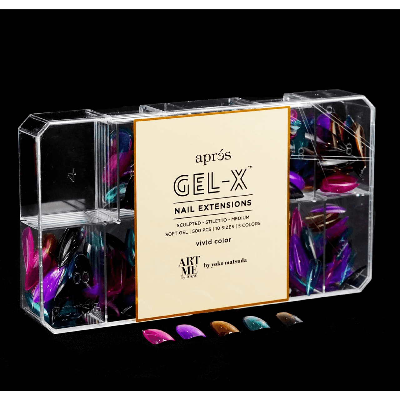 ArtMe x Aprés Gel-X Tips - Vivid Color - Sculpted Stiletto Medium-Gel System-Universal Nail Supplies