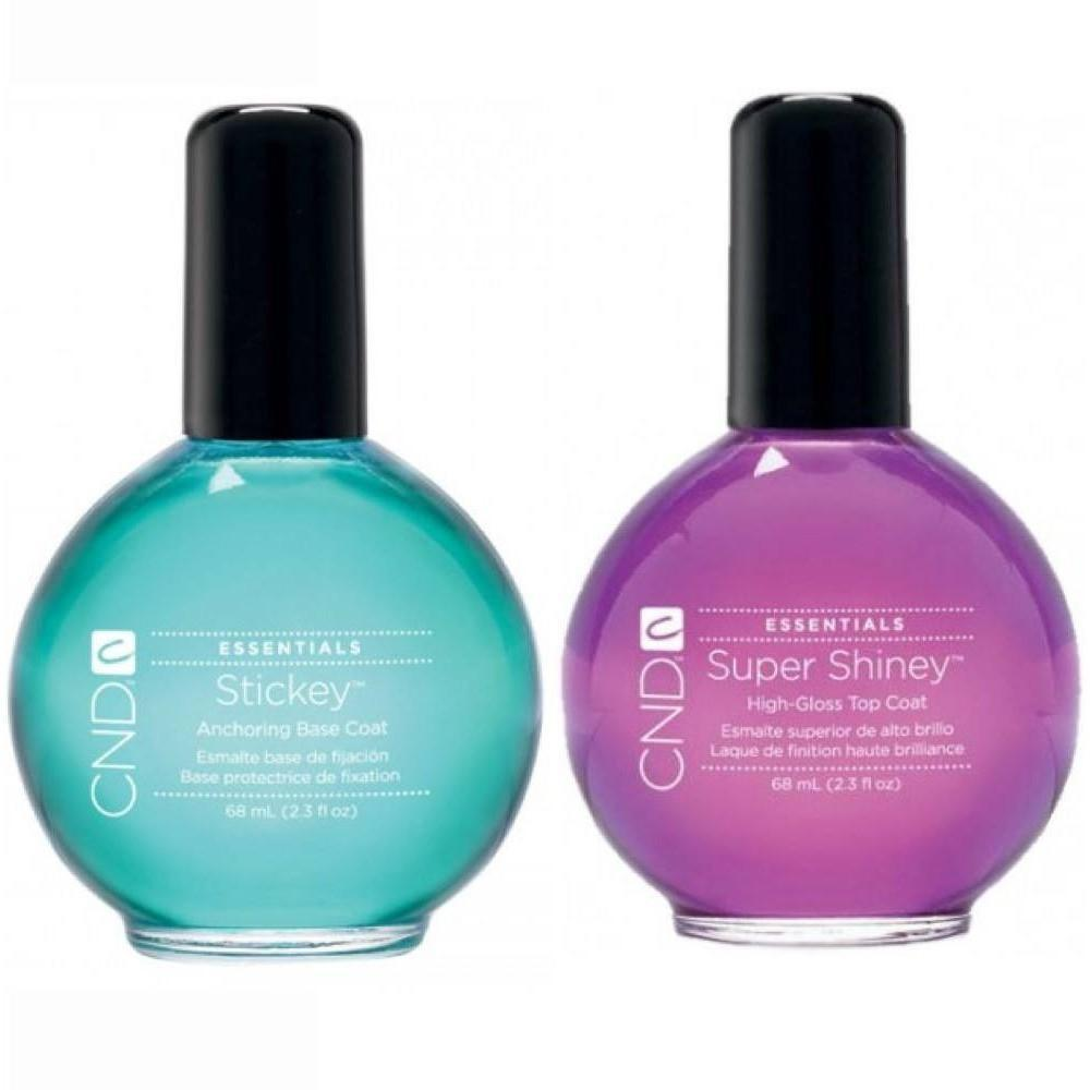 CND Stickey Anchoring Base Coat & Super Shiney High-Gloss Top Coat ...