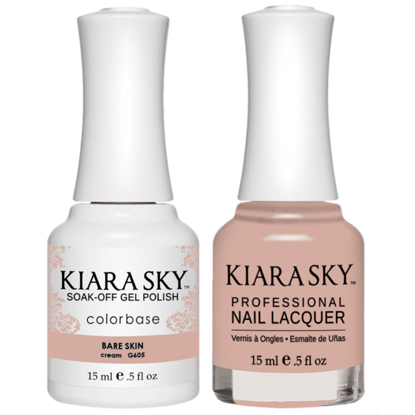 Kiara Sky Gel + Matching Lacquer - Bare Skin #605-Gel Nail Polish-Universal Nail Supplies