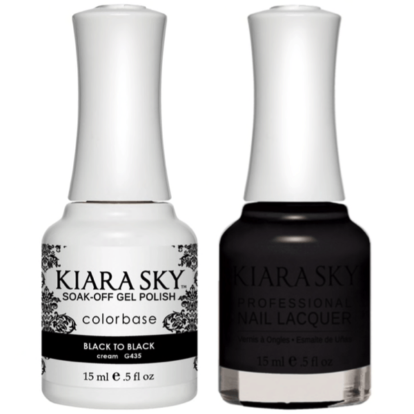 Kiara Sky Gel + Matching Lacquer - Black to Black #435-Gel Nail Polish-Universal Nail Supplies