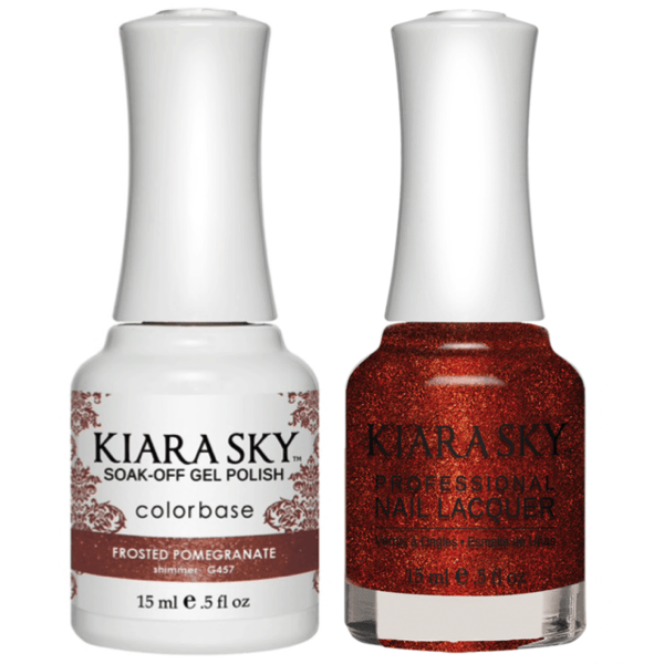 Kiara Sky Gel + Matching Lacquer - Frosted Pomegranate #457-Gel Nail Polish-Universal Nail Supplies