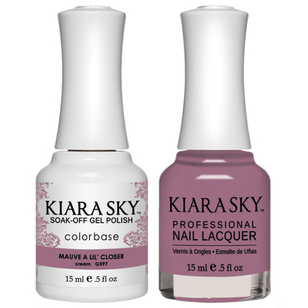 Kiara Sky Gel + Matching Lacquer - Mauve A Lil' Closer #597-Gel Nail Polish-Universal Nail Supplies