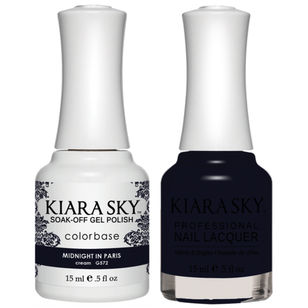 Kiara Sky Gel + Matching Lacquer - Midnight In Paris #572-Gel Nail Polish-Universal Nail Supplies