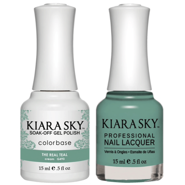 Kiara Sky Gel + Matching Lacquer - The Real Teal #493-Gel Nail Polish-Universal Nail Supplies