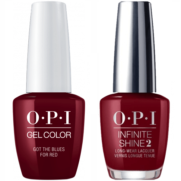 OPI GelColor Got the Blues for Red #W52 + Infinite Shine #W52-Gel Nail Polish + Lacquer-Universal Nail Supplies