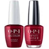 OPI GelColor + Infinite Shine An Affair In Red Square #R53-Gel Nail Polish + Lacquer-Universal Nail Supplies