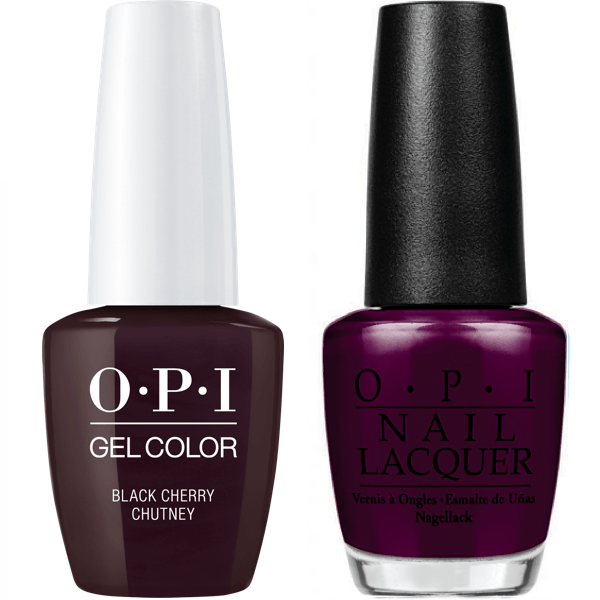 OPI GelColor + Matching Lacquer Black Cherry Chutney #I43-Gel Nail Polish + Lacquer-Universal Nail Supplies