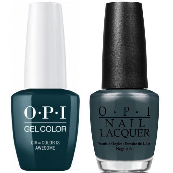 OPI GelColor + Matching Lacquer CIA=Color Is Awesome #W53-Gel Nail Polish + Lacquer-Universal Nail Supplies