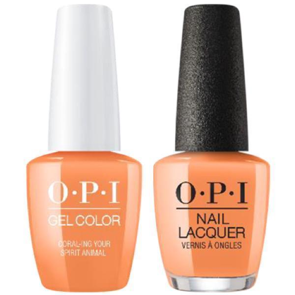 OPI GelColor + Matching Lacquer Coral-ing Your Spirit Animal #M88-Gel Nail Polish + Lacquer-Universal Nail Supplies