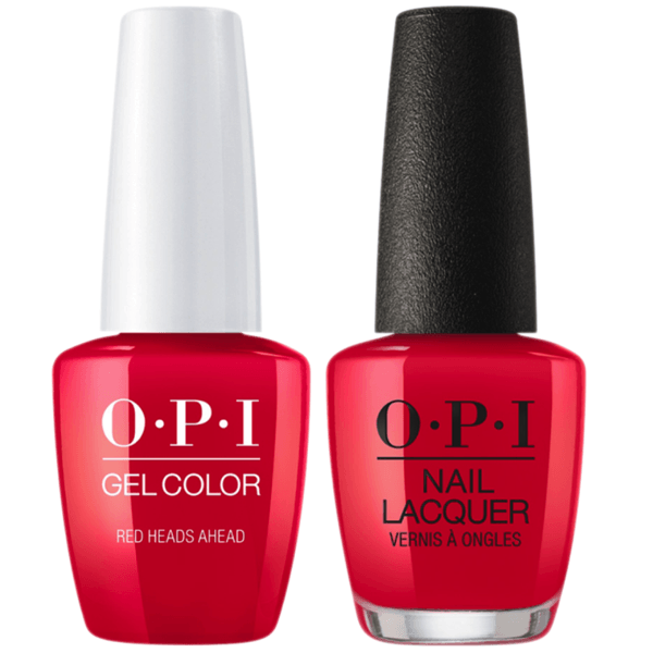OPI GelColor + Matching Lacquer Red Heads Ahead #U13-Gel Nail Polish + Lacquer-Universal Nail Supplies